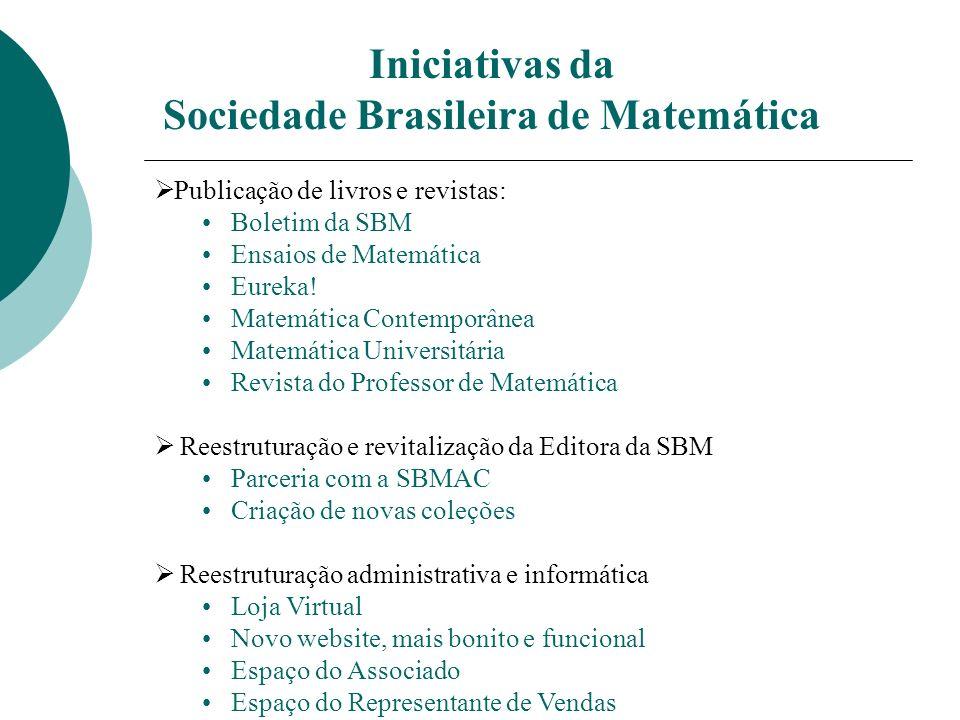 Iniciativas da Sociedade Brasileira de Matemática Ø Publicação de livros e revistas: Boletim da SBM Ensaios de Matemática Eureka.