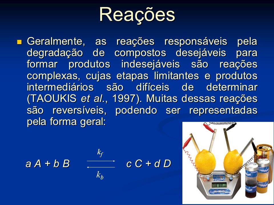 Cinética das alterações em alimentos A cinética ou velocidade das reações de transformação ou perda de qualidade baseia-se na teoria das colisões mole