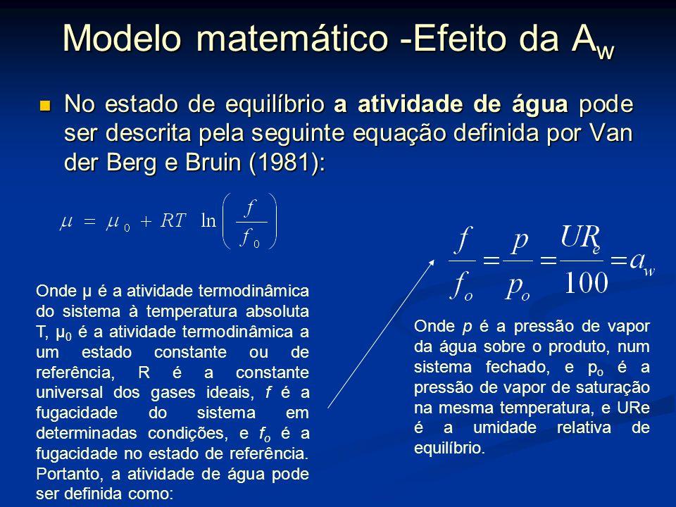 Modelos matemáticos Os modelos matemáticos utilizados, geralmente são de primeira ordem, e descrevem algumas alterações comumente presentes em aliment