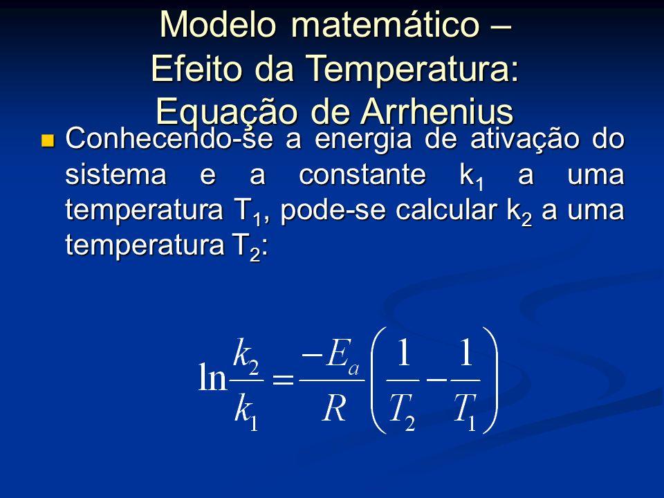 Se forem conhecidos os valores de k 1 e k 2 a duas temperaturas, T 1 e T 2, os parâmetros da equação de Arrhenius podem ser calculados por meio das eq