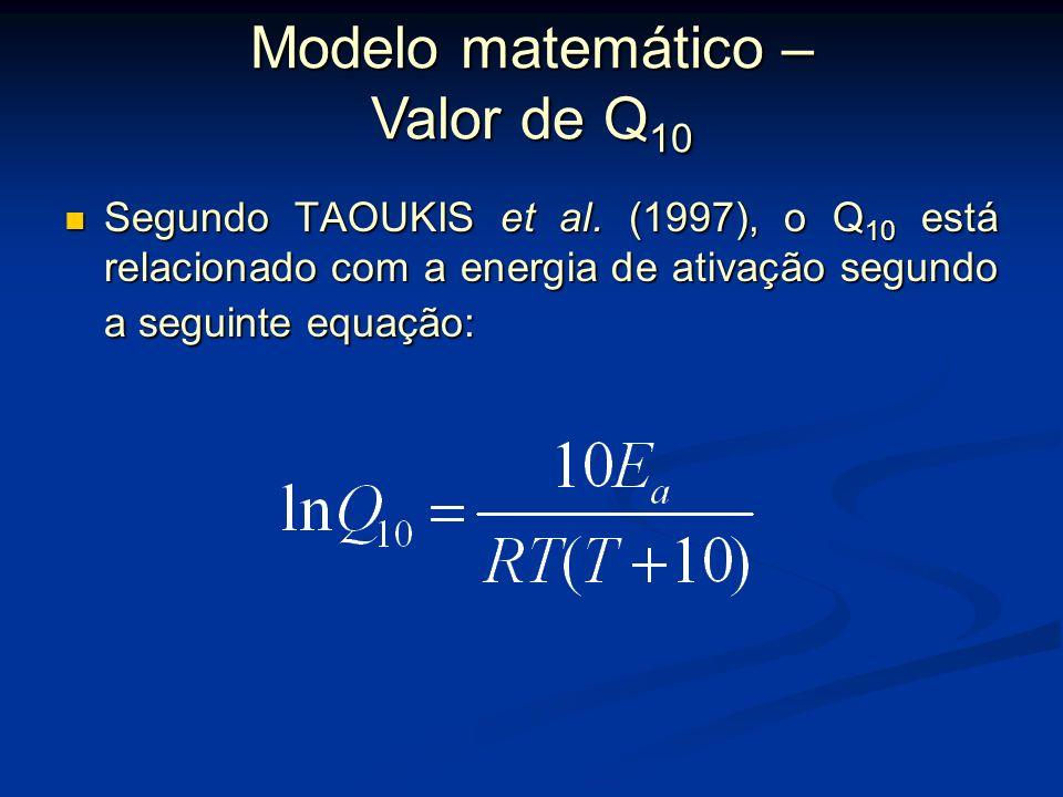 Segundo TAOUKIS et al. (1997), o valor de Q 10 conduz a uma equação de taxa de reação em função da temperatura na forma: Segundo TAOUKIS et al. (1997)