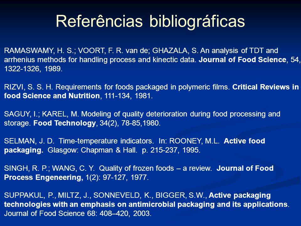 Referências bibliográficas MELO, N. R. Avaliação de embalagem ativa por incorporação de nisina na inibição de Staphylococcus sp. Viçosa: Departamento