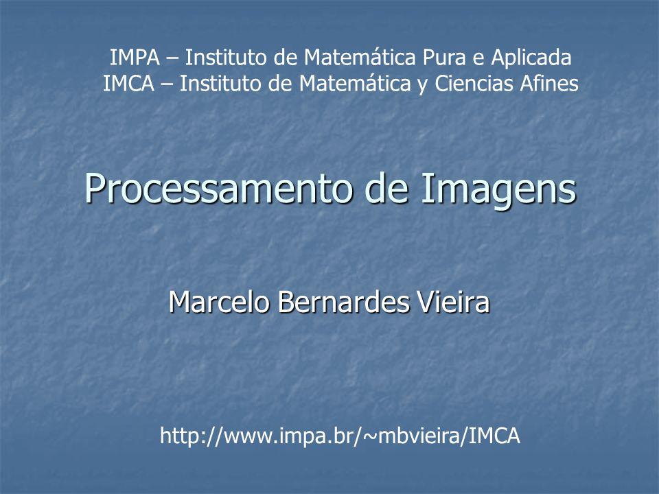 Processamento de Imagens Marcelo Bernardes Vieira http://www.impa.br/~mbvieira/IMCA IMPA – Instituto de Matemática Pura e Aplicada IMCA – Instituto de