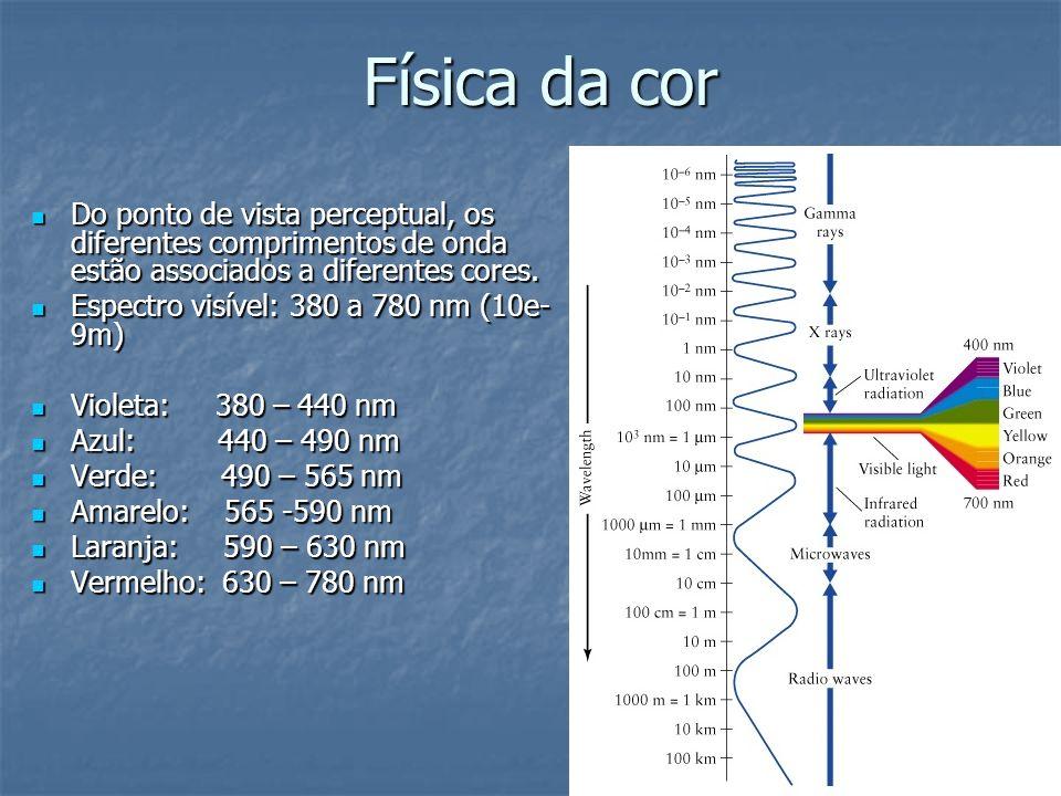 Física da cor Do ponto de vista perceptual, os diferentes comprimentos de onda estão associados a diferentes cores. Do ponto de vista perceptual, os d