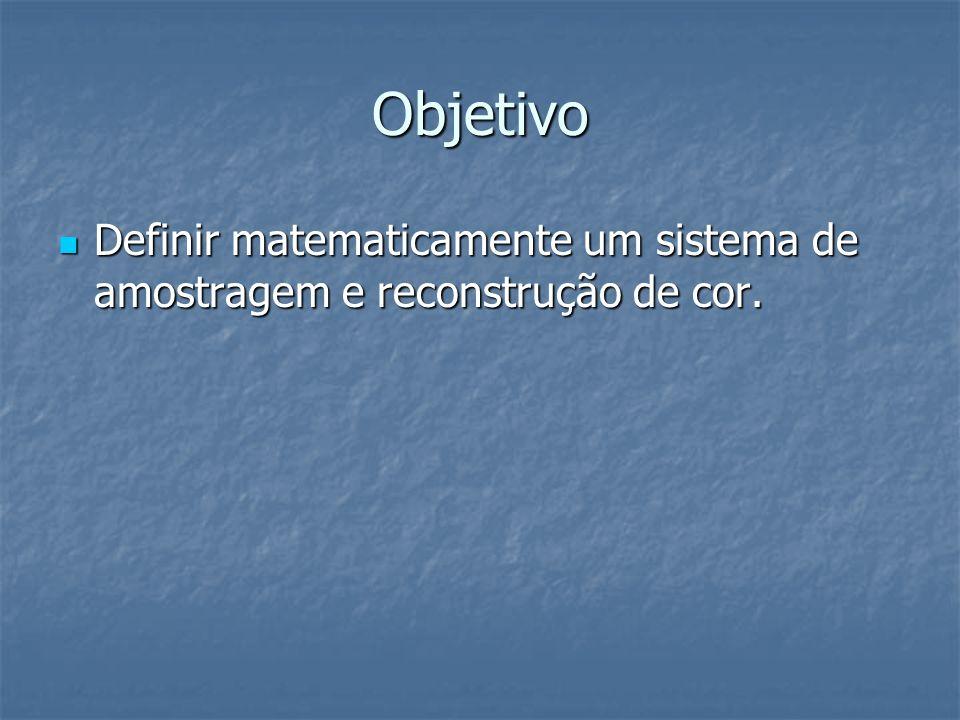 Objetivo Definir matematicamente um sistema de amostragem e reconstrução de cor. Definir matematicamente um sistema de amostragem e reconstrução de co