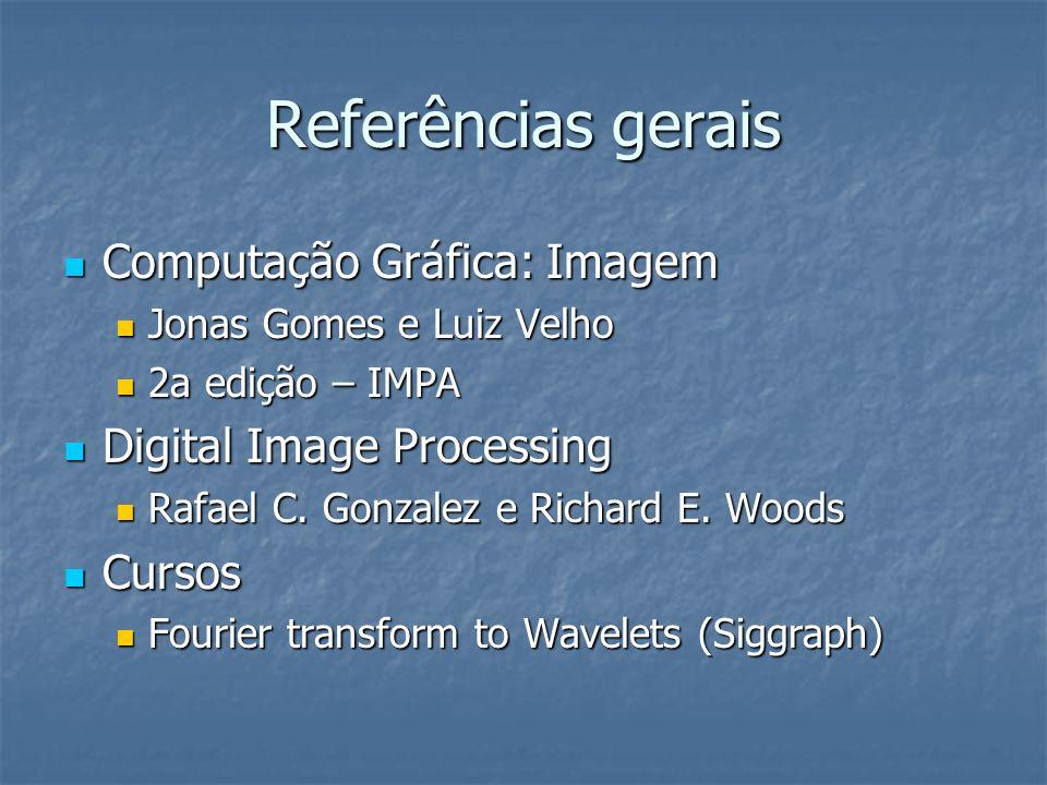 Referências gerais Computação Gráfica: Imagem Computação Gráfica: Imagem Jonas Gomes e Luiz Velho Jonas Gomes e Luiz Velho 2a edição – IMPA 2a edição