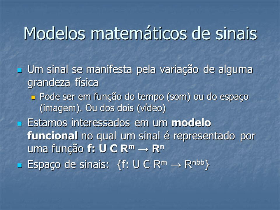 Modelos matemáticos de sinais Um sinal se manifesta pela variação de alguma grandeza física Um sinal se manifesta pela variação de alguma grandeza fís