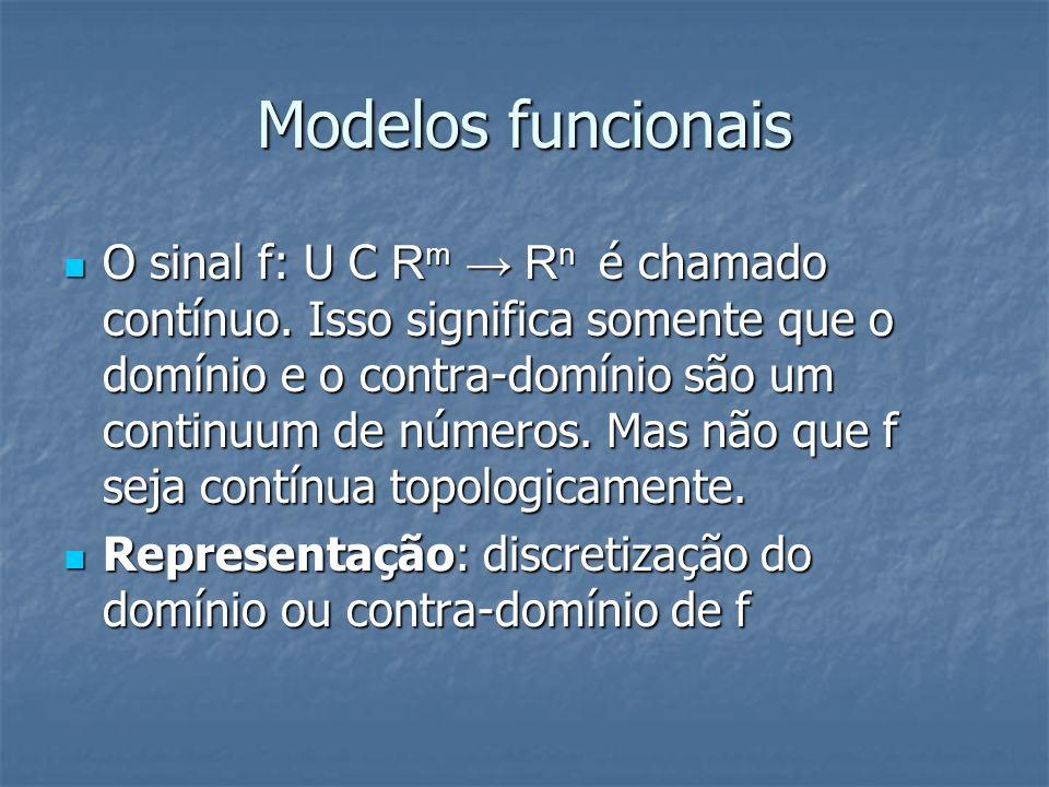 Modelos funcionais O sinal f: U С R m R n é chamado contínuo. Isso significa somente que o domínio e o contra-domínio são um continuum de números. Mas