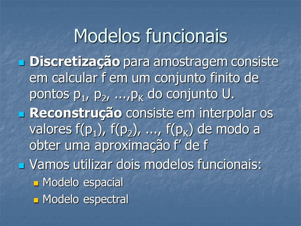 Modelos funcionais Discretização para amostragem consiste em calcular f em um conjunto finito de pontos p 1, p 2,...,p K do conjunto U. Discretização