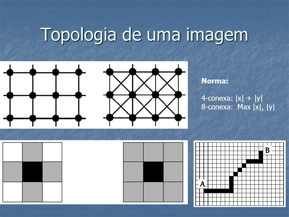 Topologia de uma imagem Norma: 4-conexa:  x  +  y  8-conexa: Max  x ,  y 