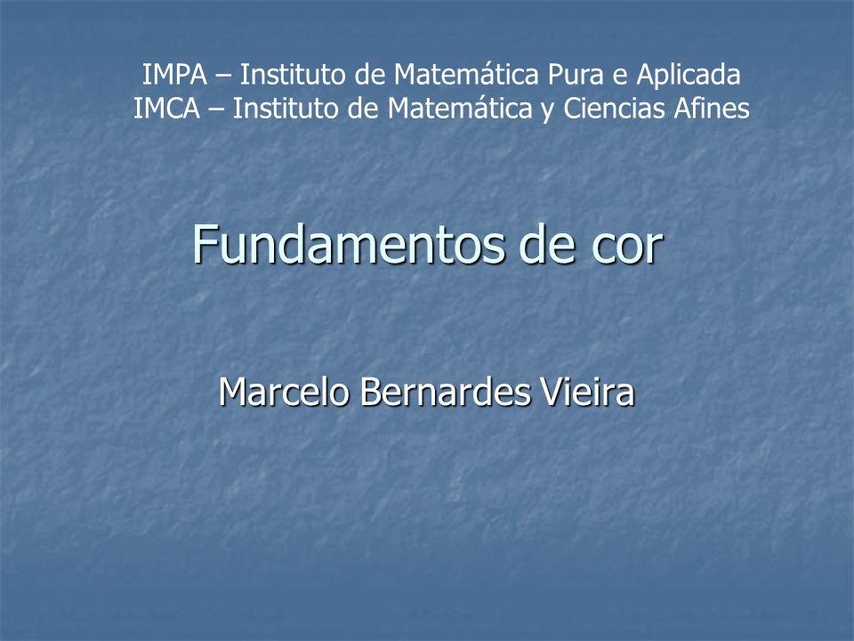 Fundamentos de cor Marcelo Bernardes Vieira IMPA – Instituto de Matemática Pura e Aplicada IMCA – Instituto de Matemática y Ciencias Afines
