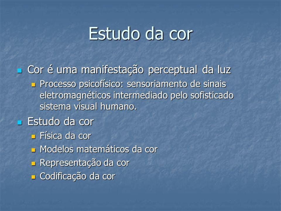 Estudo da cor Cor é uma manifestação perceptual da luz Cor é uma manifestação perceptual da luz Processo psicofísico: sensoriamento de sinais eletroma