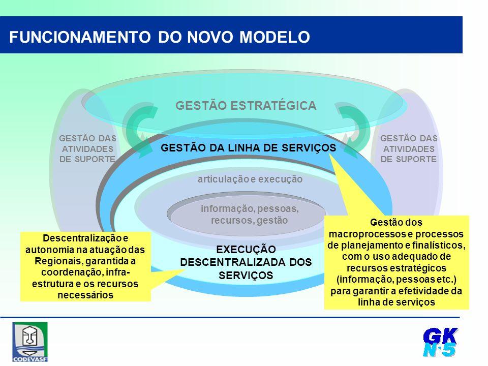 GESTÃO DAS ATIVIDADES DE SUPORTE Descentralização e autonomia na atuação das Regionais, garantida a coordenação, infra- estrutura e os recursos necessários informação, pessoas, recursos, gestão articulação e execução GESTÃO DA LINHA DE SERVIÇOS EXECUÇÃO DESCENTRALIZADA DOS SERVIÇOS Gestão dos macroprocessos e processos de planejamento e finalísticos, com o uso adequado de recursos estratégicos (informação, pessoas etc.) para garantir a efetividade da linha de serviços FUNCIONAMENTO DO NOVO MODELO