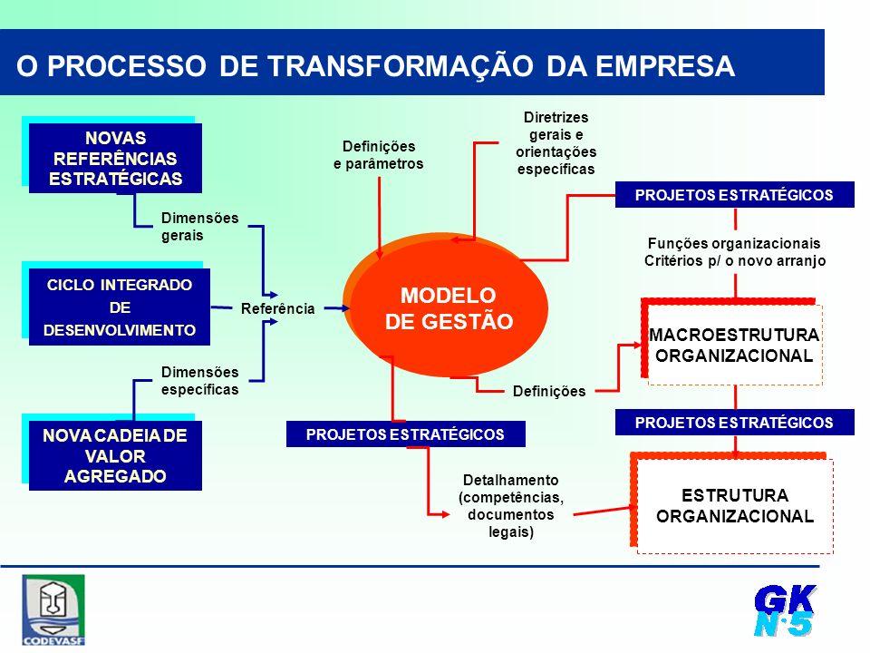 NOVAS REFERÊNCIAS ESTRATÉGICAS CICLO INTEGRADO DE DESENVOLVIMENTO MODELO DE GESTÃO NOVA CADEIA DE VALOR AGREGADO Dimensões gerais Dimensões específicas Referência O PROCESSO DE TRANSFORMAÇÃO DA EMPRESA MACROESTRUTURA ORGANIZACIONAL PROJETOS ESTRATÉGICOS Funções organizacionais Critérios p/ o novo arranjo Definições ESTRUTURA ORGANIZACIONAL Detalhamento (competências, documentos legais) PROJETOS ESTRATÉGICOS Definições e parâmetros Diretrizes gerais e orientações específicas