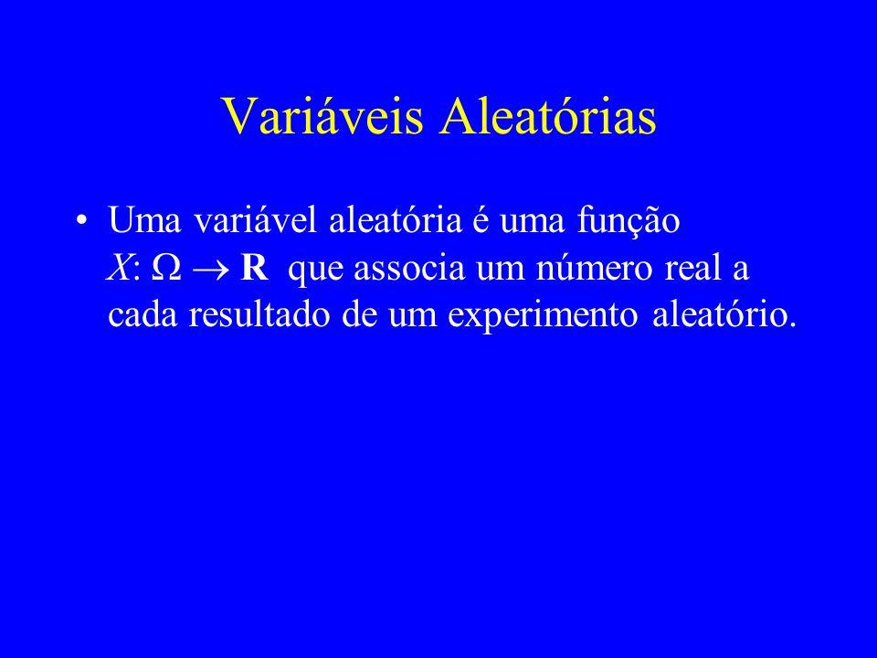 Exemplos de variáveis aleatórias Moeda honesta lançada 3 vezes = {ccc, cck, ckc, …} X = número de caras Y = número de transições Quando se observa cck: X = 2 Y = 1