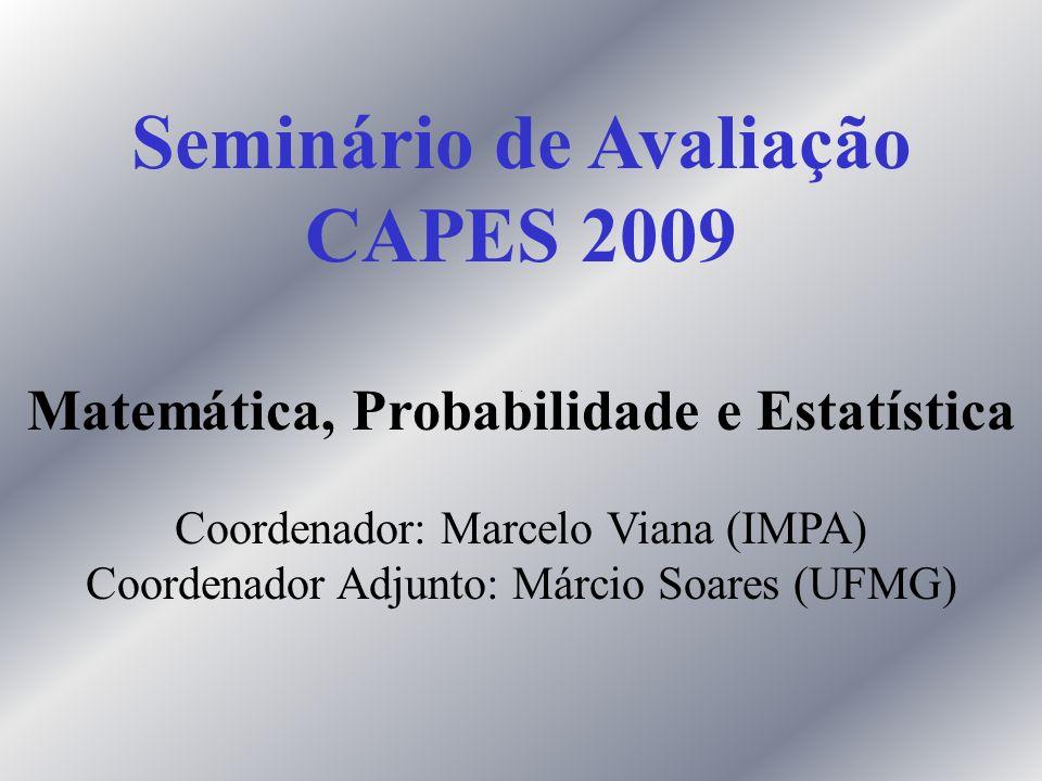 Seminário de Avaliação CAPES 2009 Matemática, Probabilidade e Estatística Coordenador: Marcelo Viana (IMPA) Coordenador Adjunto: Márcio Soares (UFMG)