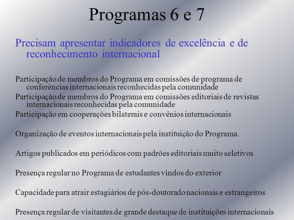 Programas 6 e 7 Precisam apresentar indicadores de excelência e de reconhecimento internacional Participação de membros do Programa em comissões de pr