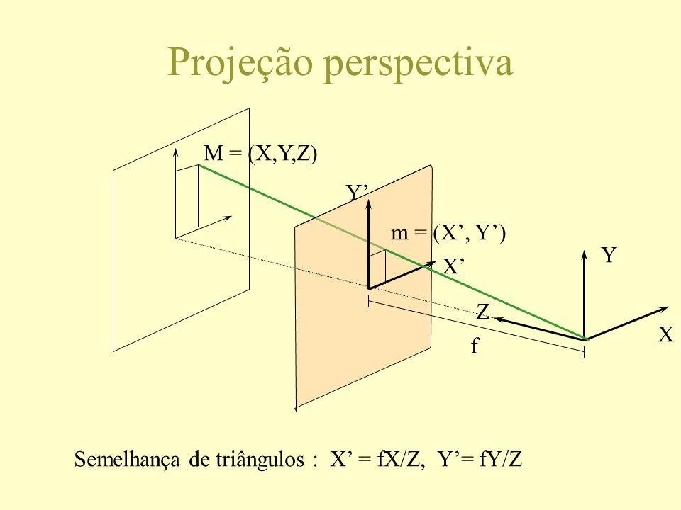 Projeção perspectiva X Y Z X Y M = (X,Y,Z) m = (X, Y) f Semelhança de triângulos : X = fX/Z, Y= fY/Z
