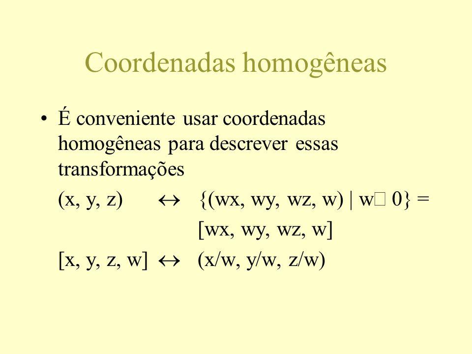 Coordenadas homogêneas É conveniente usar coordenadas homogêneas para descrever essas transformações (x, y, z) {(wx, wy, wz, w) | w 0} = [wx, wy, wz, w] [x, y, z, w] (x/w, y/w, z/w)