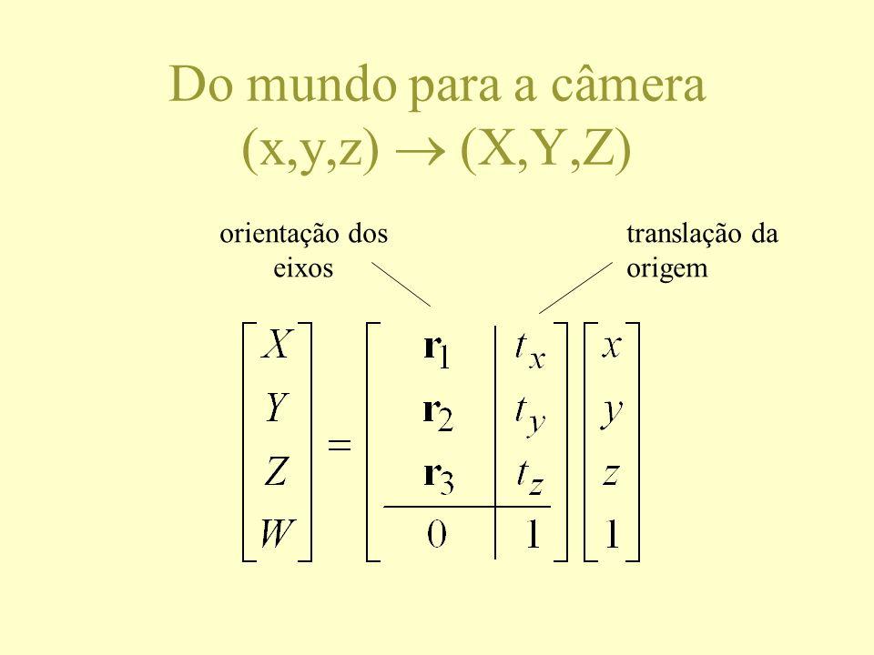 Do mundo para a câmera (x,y,z) (X,Y,Z) orientação dos eixos translação da origem