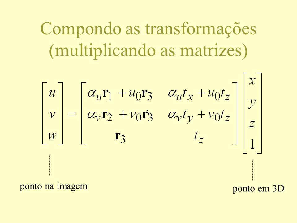 Compondo as transformações (multiplicando as matrizes) ponto na imagem ponto em 3D