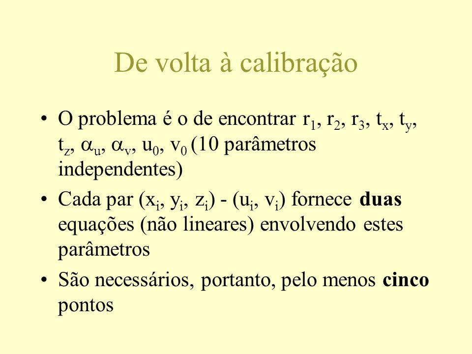 De volta à calibração O problema é o de encontrar r 1, r 2, r 3, t x, t y, t z, u, v, u 0, v 0 (10 parâmetros independentes) Cada par (x i, y i, z i )