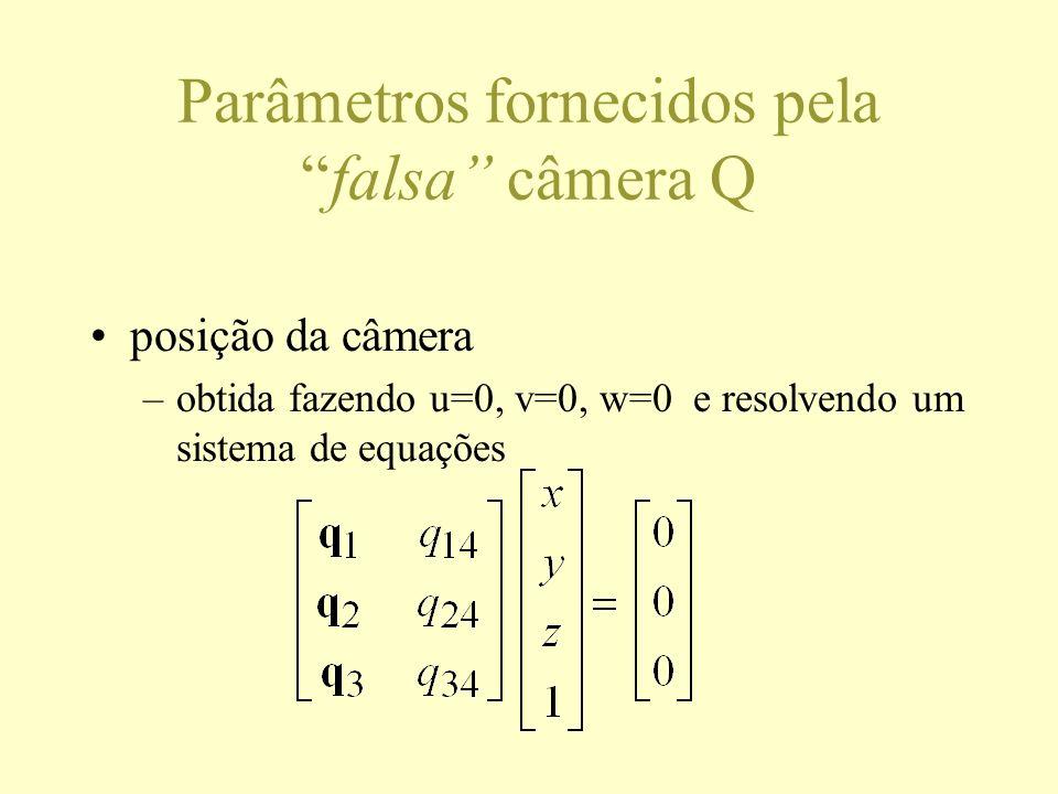 Parâmetros fornecidos pelafalsa câmera Q posição da câmera –obtida fazendo u=0, v=0, w=0 e resolvendo um sistema de equações