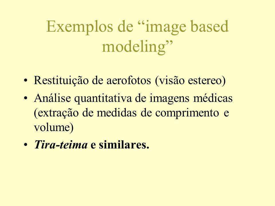 Exemplos de image based modeling Restituição de aerofotos (visão estereo) Análise quantitativa de imagens médicas (extração de medidas de comprimento
