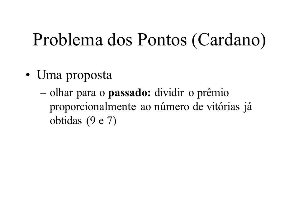 Problema dos Pontos (Cardano) Uma proposta –olhar para o passado: dividir o prêmio proporcionalmente ao número de vitórias já obtidas (9 e 7)