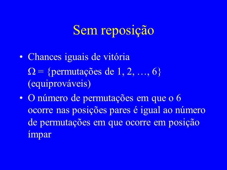 Chances iguais de vitória = {permutações de 1, 2, …, 6} (equiprováveis) O número de permutações em que o 6 ocorre nas posições pares é igual ao número de permutações em que ocorre em posição ímpar