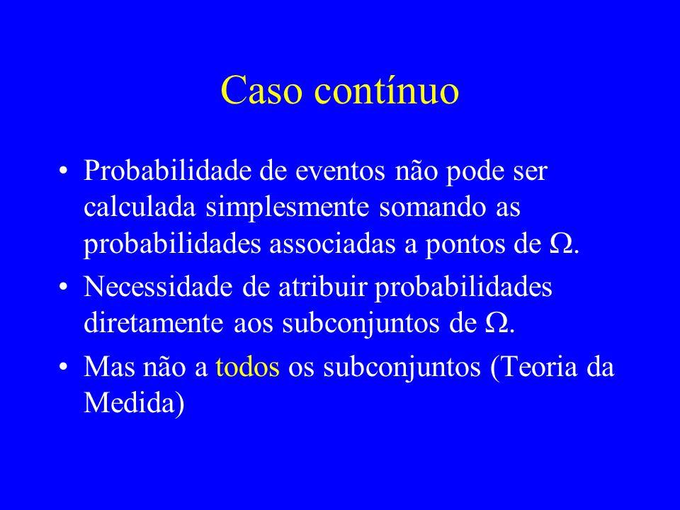 Caso contínuo Probabilidade de eventos não pode ser calculada simplesmente somando as probabilidades associadas a pontos de Necessidade de atribuir probabilidades diretamente aos subconjuntos de Mas não a todos os subconjuntos (Teoria da Medida)