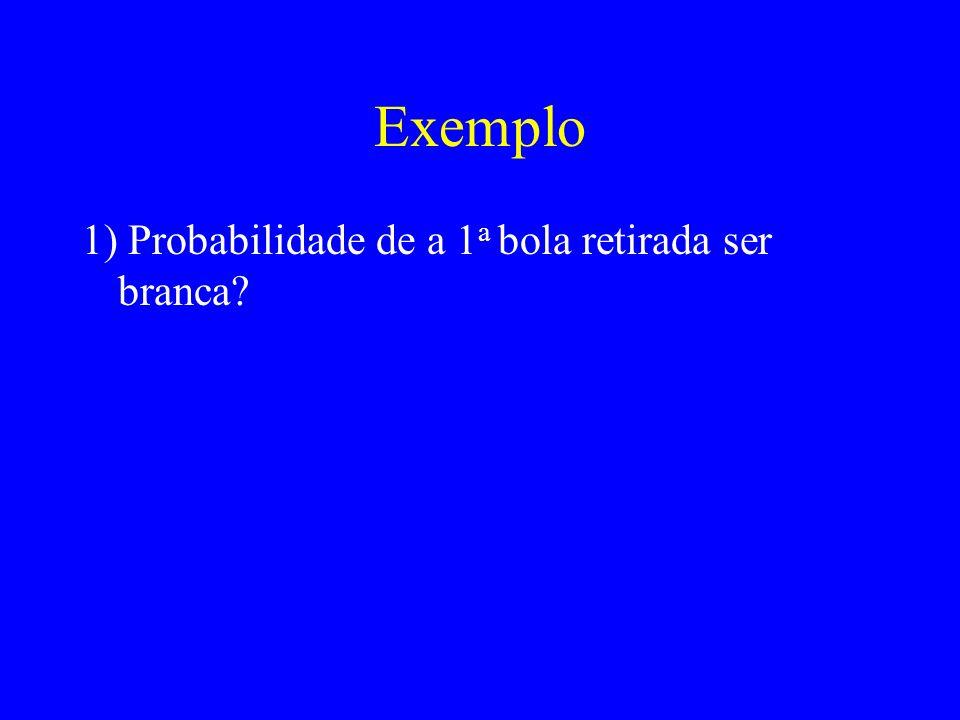 Exemplo 1) Probabilidade de a 1 a bola retirada ser branca