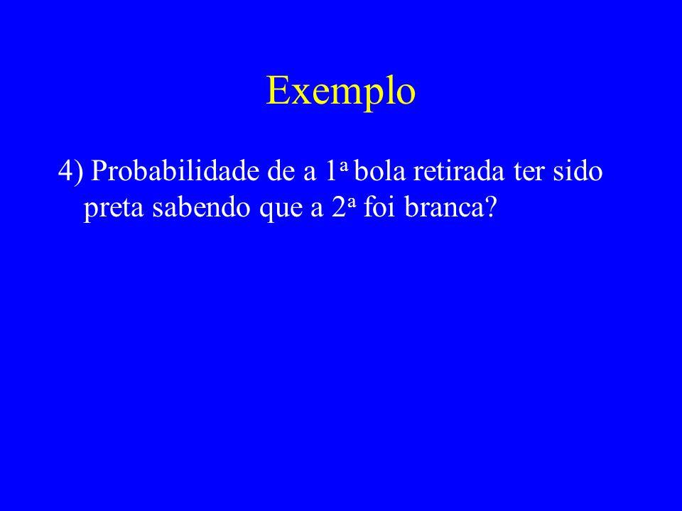 Exemplo 4) Probabilidade de a 1 a bola retirada ter sido preta sabendo que a 2 a foi branca
