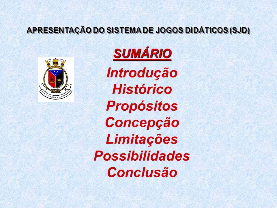 APRESENTAÇÃO DO SISTEMA DE JOGOS DIDÁTICOS (SJD) Introdução Histórico Propósitos Concepção Limitações Possibilidades Conclusão SUMÁRIO