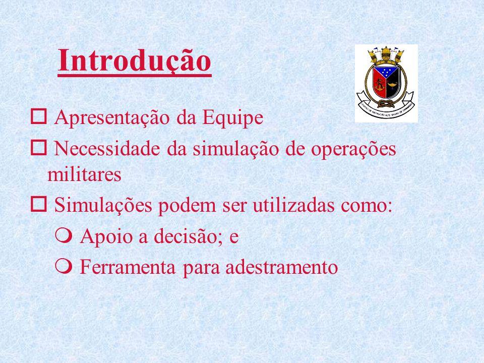 Introdução o Apresentação da Equipe o Necessidade da simulação de operações militares o Simulações podem ser utilizadas como: m Apoio a decisão; e m Ferramenta para adestramento