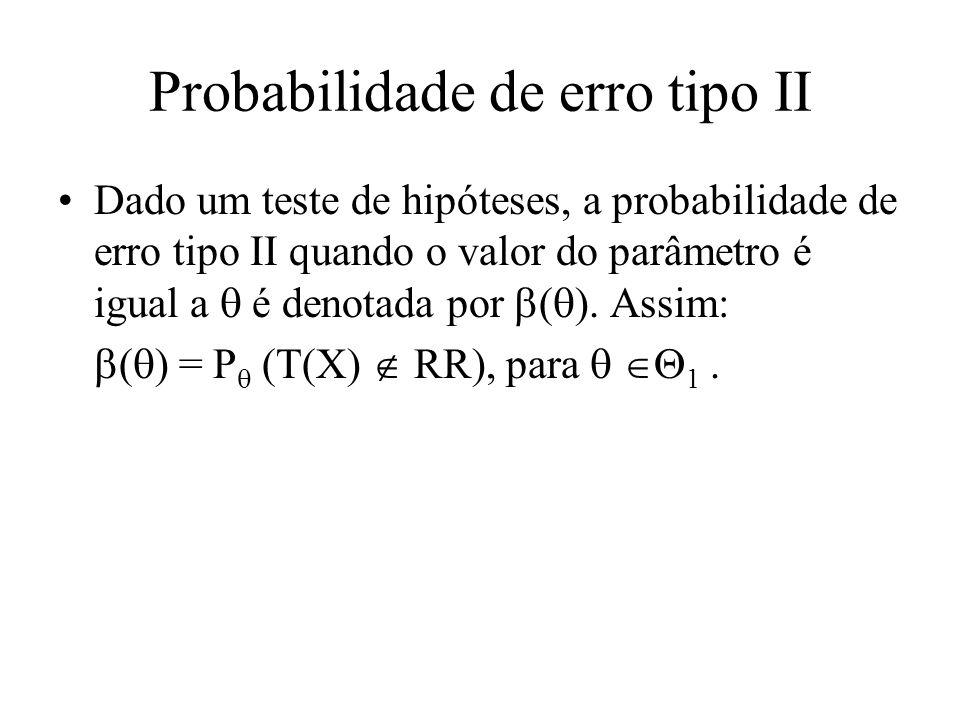 Probabilidade de erro tipo II Dado um teste de hipóteses, a probabilidade de erro tipo II quando o valor do parâmetro é igual a é denotada por ( ). As