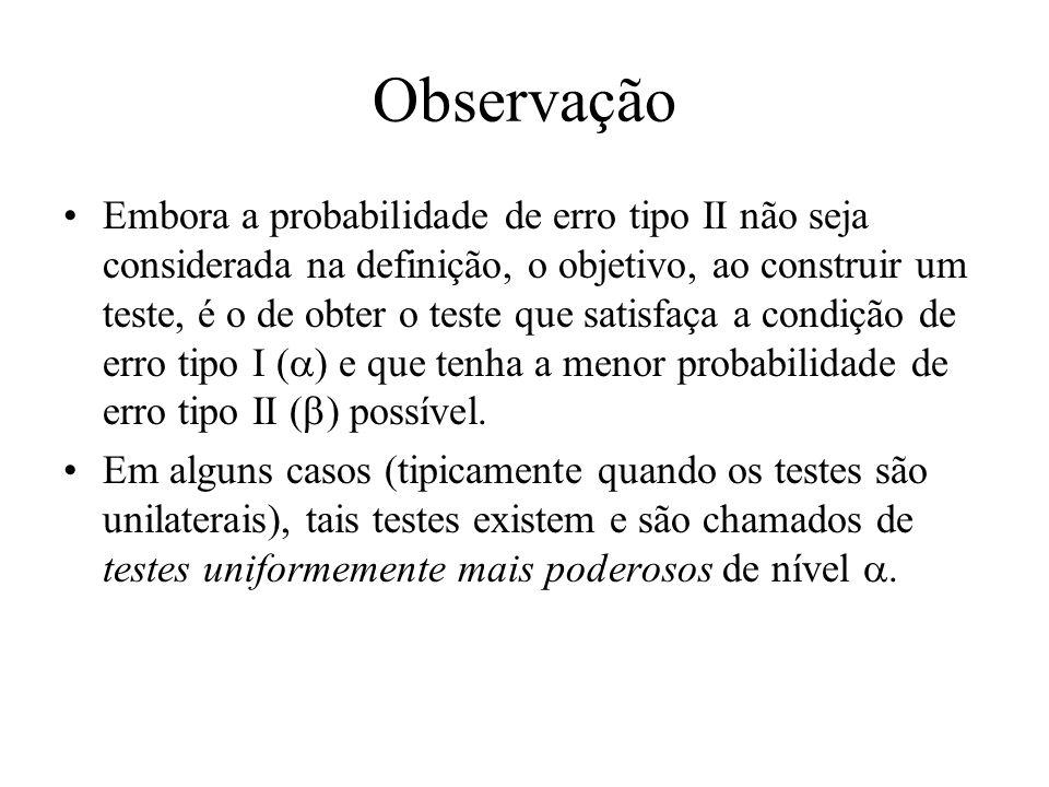 Observação Embora a probabilidade de erro tipo II não seja considerada na definição, o objetivo, ao construir um teste, é o de obter o teste que satis