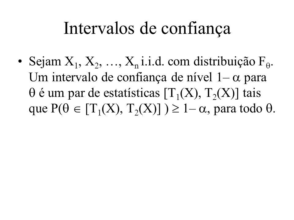 Intervalos de confiança Sejam X 1, X 2, …, X n i.i.d.