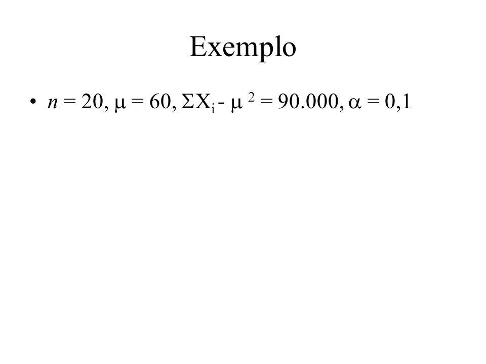 Exemplo n = 20, = 60, X i - 2 = 90.000, = 0,1