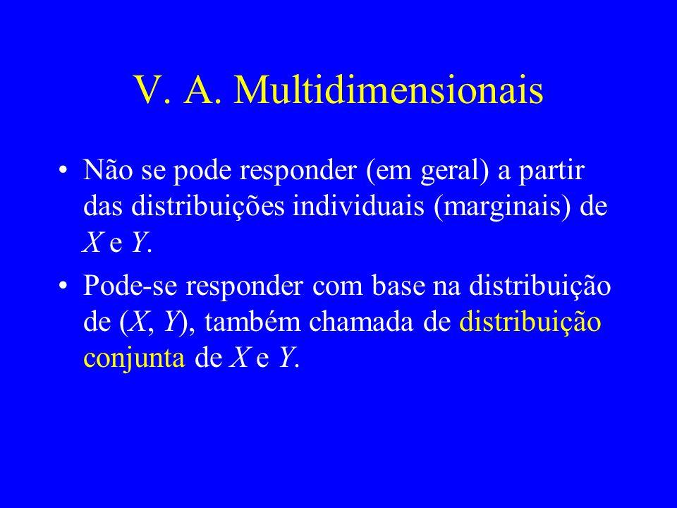 V. A. Multidimensionais Não se pode responder (em geral) a partir das distribuições individuais (marginais) de X e Y. Pode-se responder com base na di