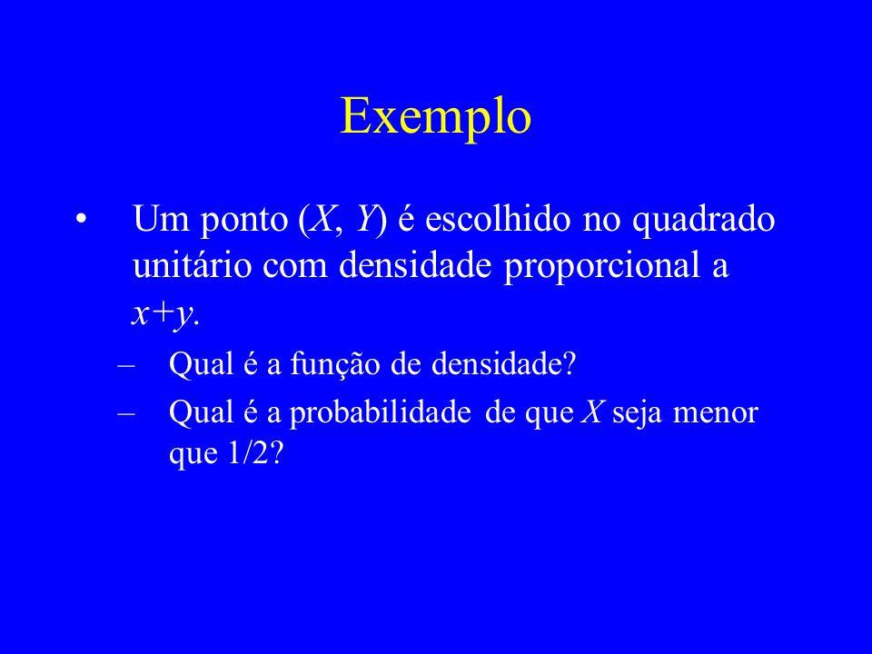 Exemplo Um ponto (X, Y) é escolhido no quadrado unitário com densidade proporcional a x+y.
