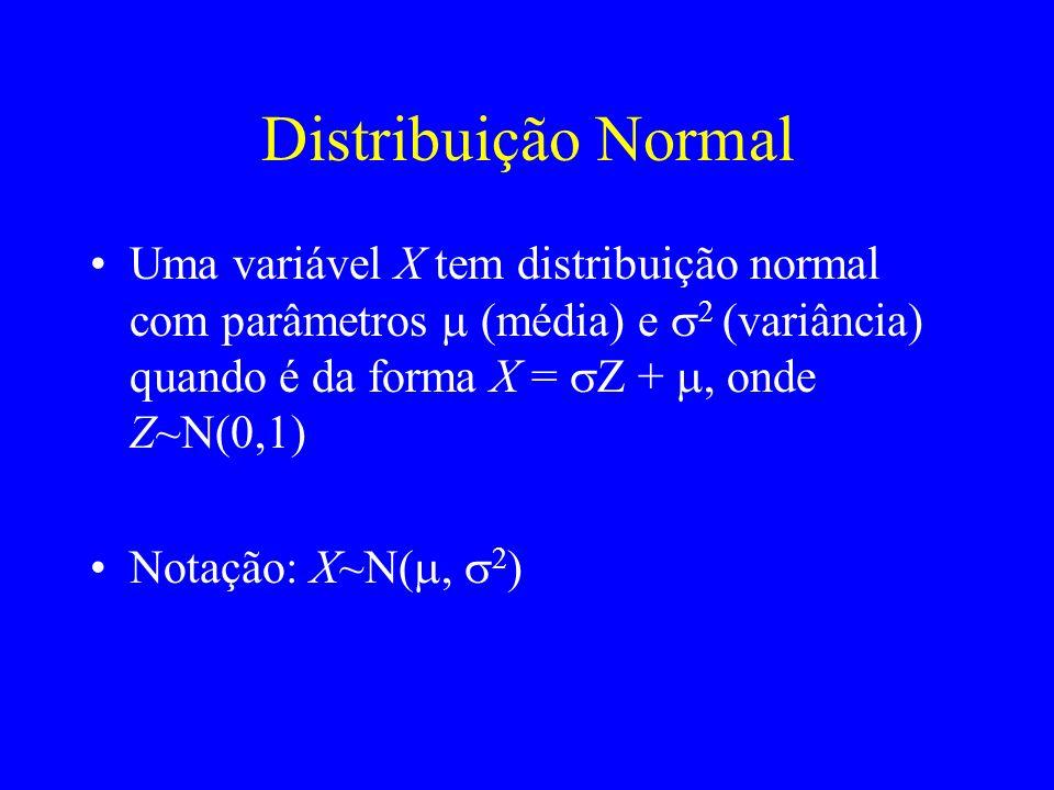 Distribuição Normal Uma variável X tem distribuição normal com parâmetros (média) e 2 (variância) quando é da forma X = Z +, onde Z~N(0,1) Notação: X~N( 2 )