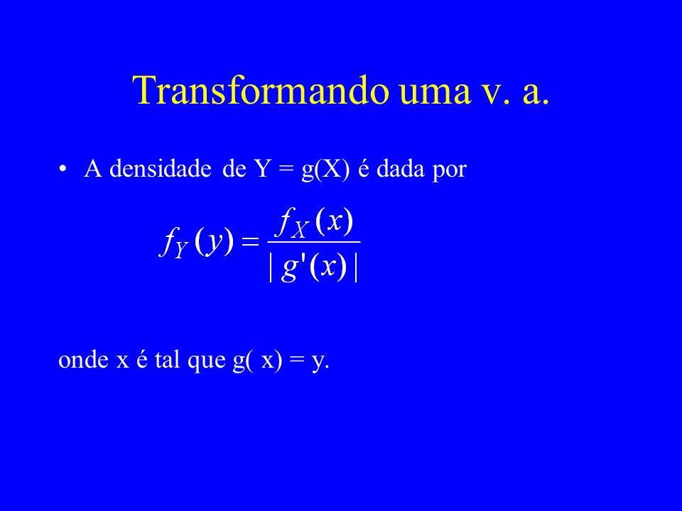 Exemplo As variáveis aleatórias X e Y têm distribuição conjunta de densidade f X,Y (x,y) = x+y, para 0 < x, y < 1 –Quais são as distribuições marginais de X e Y.