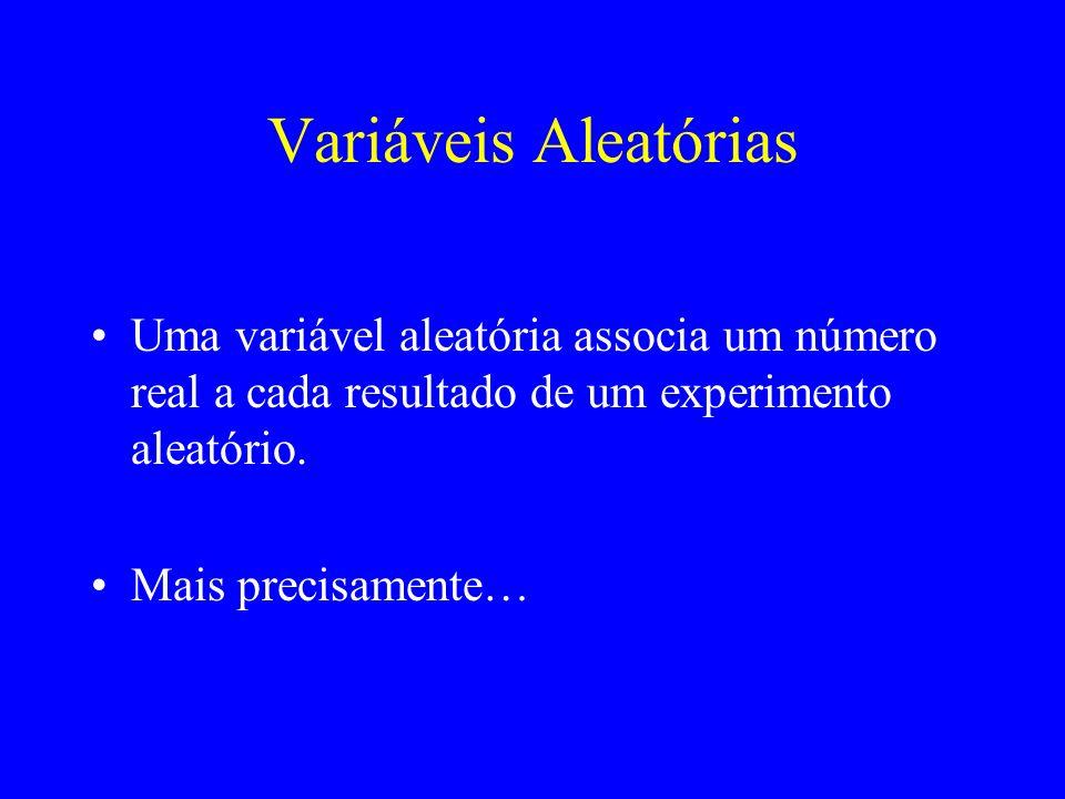 Variáveis Aleatórias Uma variável aleatória associa um número real a cada resultado de um experimento aleatório. Mais precisamente…