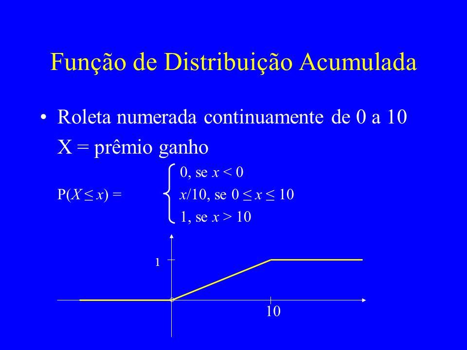 Função de Distribuição Acumulada Roleta numerada continuamente de 0 a 10 X = prêmio ganho 0, se x < 0 P(X x) = x/10, se 0 x 10 1, se x > 10 10 1