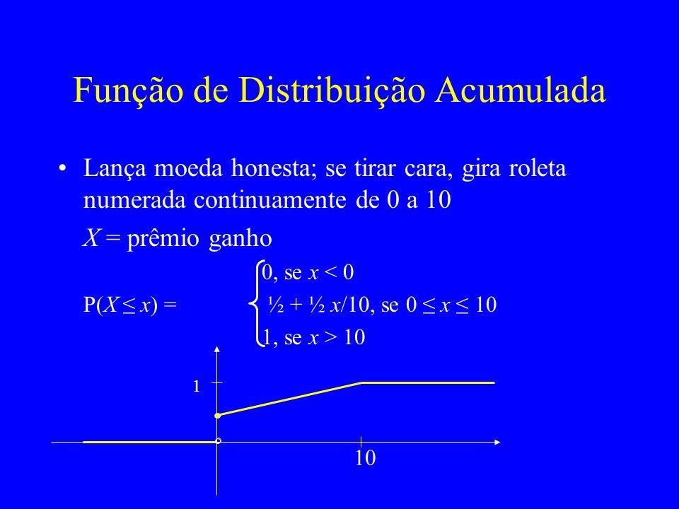 Função de Distribuição Acumulada Lança moeda honesta; se tirar cara, gira roleta numerada continuamente de 0 a 10 X = prêmio ganho 0, se x < 0 P(X x) = ½ + ½ x/10, se 0 x 10 1, se x > 10 10 1