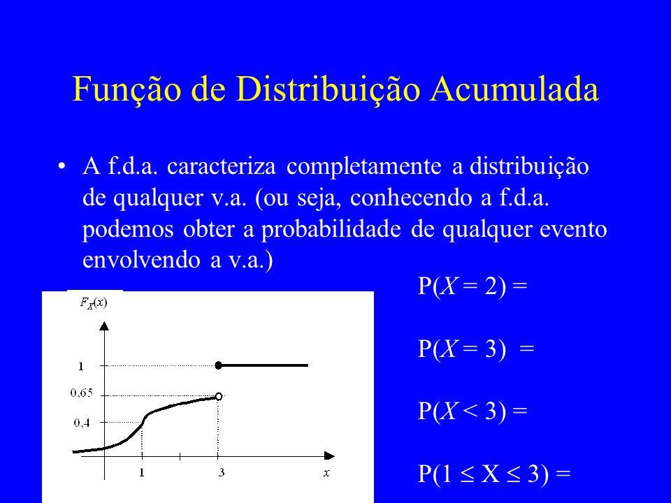Função de Distribuição Acumulada A f.d.a. caracteriza completamente a distribuição de qualquer v.a. (ou seja, conhecendo a f.d.a. podemos obter a prob