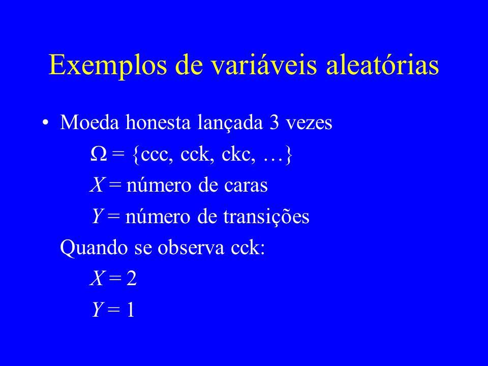 Exemplos de variáveis aleatórias Moeda honesta lançada 3 vezes = {ccc, cck, ckc, …} X = número de caras Y = número de transições x0123 P(X=x)