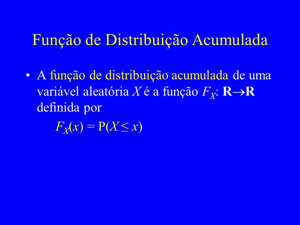 Função de Distribuição Acumulada A função de distribuição acumulada de uma variável aleatória X é a função F X : R R definida por F X (x) = P(X x)