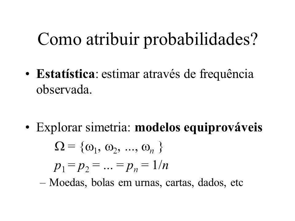 Como atribuir probabilidades? Estatística: estimar através de frequência observada. Explorar simetria: modelos equiprováveis = { 1, 2,..., n } p 1 = p